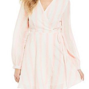 GB Long Sleeve Stripe Wrap Dress